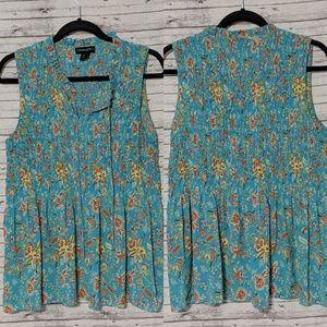 Cynthia Rowley Womens SZ:XL Turquoise floral print